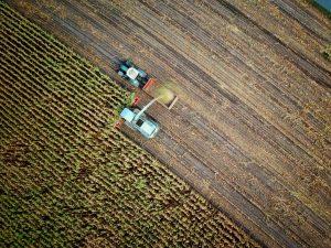 Photo d'une récolte dans un champ vu du ciel